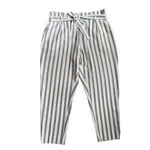 Linen Blend ankle striped pants with waist tie XL